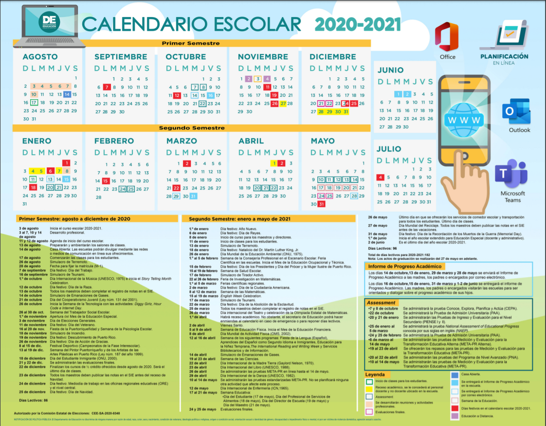 Calendario – Departamento de Educación